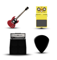 music instruments icon guitar amplifier pick vector image