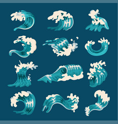 ocean wave set splash and marine elements vector image