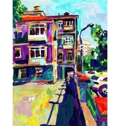 original plein air digital oil painting town old vector image