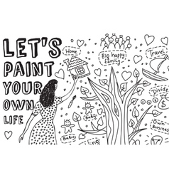 Paint life art hand draw women dreams monochrome vector