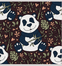 panda bear with bamboo hand vector image