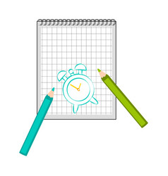 Paper with a skech of an alarm clock vector