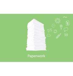 paper work document with icon flying on the right vector image