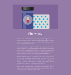 pharmacy poster with pills vector image
