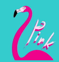 poster with pink flamingoes hand made signature vector image