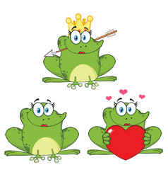 princess frog cartoon character 1 collection set vector image