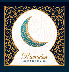 ramadan kareem islamic greeting card eastern vector image