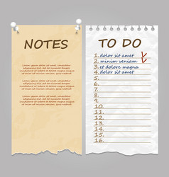 Ripped pages for notes memo and to do list vector