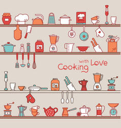 seamless horizontal pattern with kitchen shelves vector image