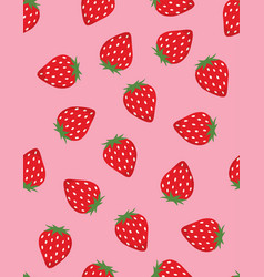 seamless pattern red strawberries vector image