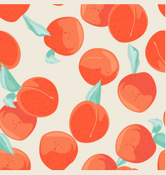 Seamless peach pattern with fruits background vector