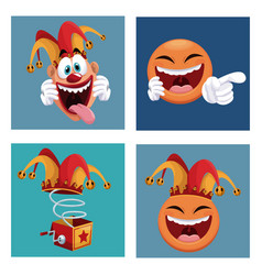 Set april fools day icons vector