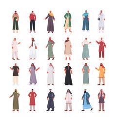 set arabic men women in traditional clothes arab vector image