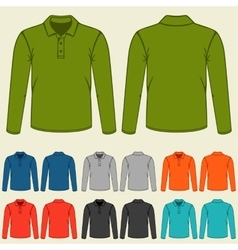 set colored polo t-shirts templates for men vector image