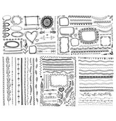 set doodle sketch frame line corner vector image