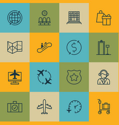 Set of 16 traveling icons includes security vector