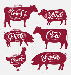 set of butchery logos labels emblems posters vector image