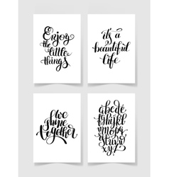 Set of four black and white handwritten lettering vector