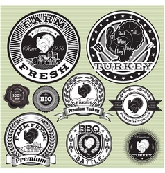 set of labels and emblem with turkey vector image