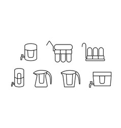 set water purifier icon in linear style vector image