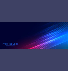 Shiny glowing technology lines banner design vector
