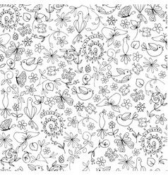 Sketch monochrome summer natural seamless pattern vector
