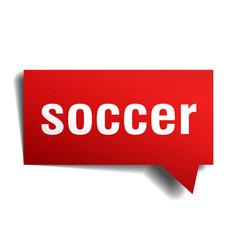 soccer red 3d speech bubble vector image