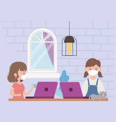 Stay at home woman with laptop and girl with vector