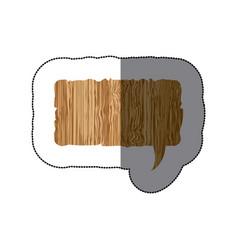 sticker realistc wooden texture rectangle dialog vector image