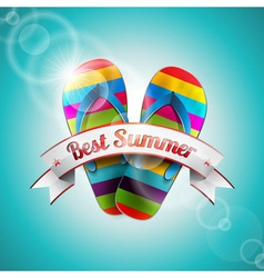 Summer Holiday Design with slipper and ribbon vector image