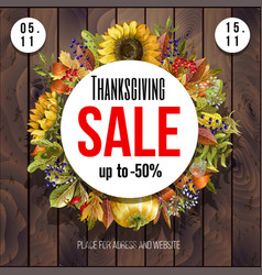 thanksgiving sale poster with autumn leaves vector image