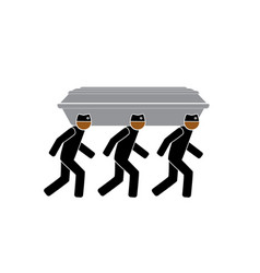 Three common people carry a coffin and dance vector