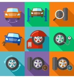 Tire wheel service icons set in flat design style vector