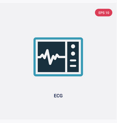 Two color ecg icon from medical concept isolated vector