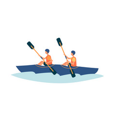 Two people kayaking in river - flat isolated vector