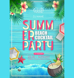 typography summer beach cocktail party poster vector image