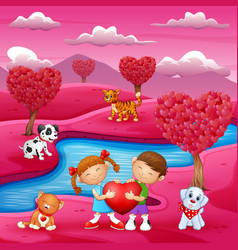 valentines day celebration by the river bank and p vector image