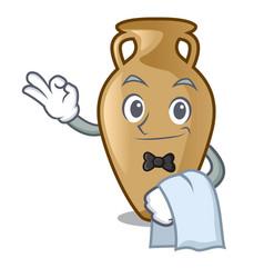 Waiter amphora mascot cartoon style vector