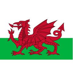 wales flag red dragon on white and green vector image