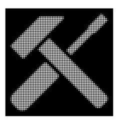 white halftone hammer screwdriver icon vector image