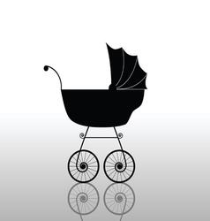 baby stroller ancient black vector image