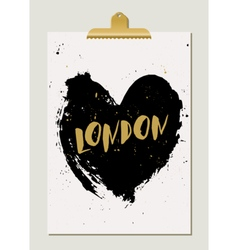 Black Heart London Poster vector image vector image