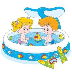 Children in a kids pool vector image vector image