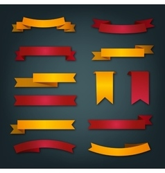 Collection of retro ribbons in red and yellow vector image vector image