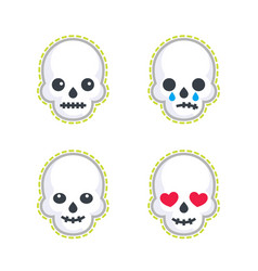 emoji with skulls on white vector image vector image