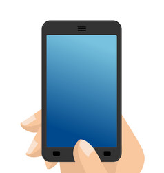 photo on smartphone hand holding screen phone vector image vector image