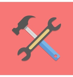 wrench and hammer on red background vector image vector image