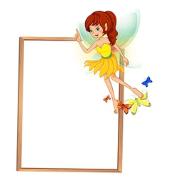 An empty wooden signboard with a floating fairy vector image