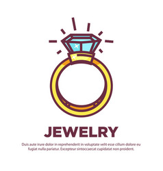 jewelry golden diamond wedding ring flat vector image vector image