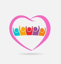 Pink family logo Heart shape vector image vector image